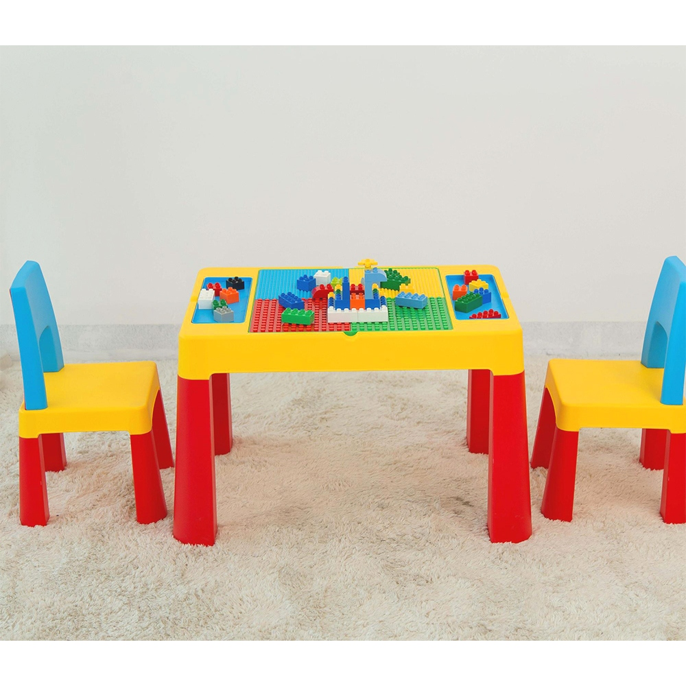 GL7834 2-IN-1 Kids Building Block & Stusy Table & Chair Set